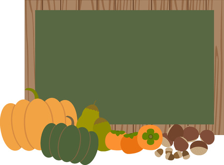 linden tree: black board with autumn vegetables Illustration