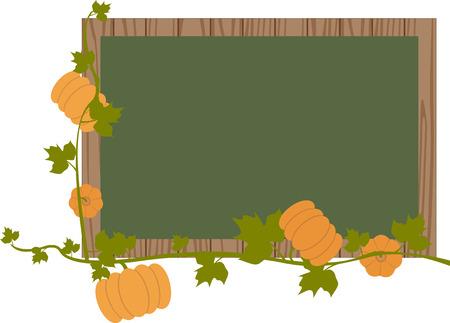 black board with pumpkins