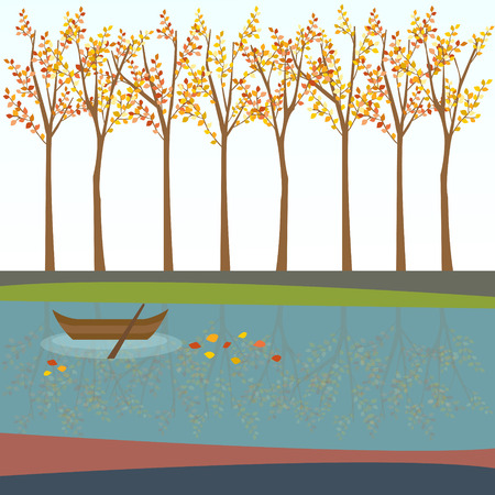 ferry: autumn background -trees, leaves, river, ferry boat Illustration