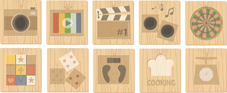 plate camera: wood board icons
