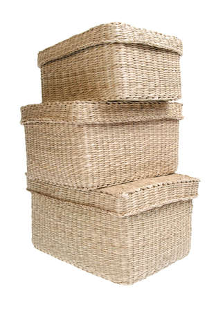 Three wattled baskets, container isolated on white background photo