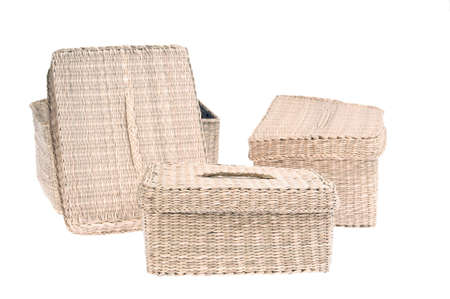 wattled: Three wattled baskets, container isolated on white background