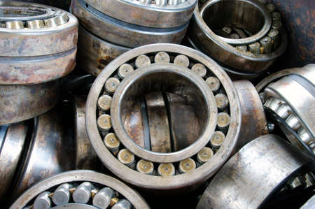 stack broken bearing on plant, industrial bearings  Stock Photo