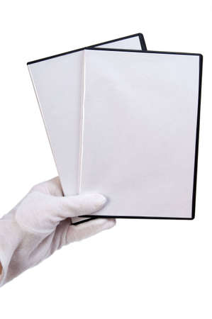 dvd case: isolated - blank case DVD  CD in hand white background  Stock Photo