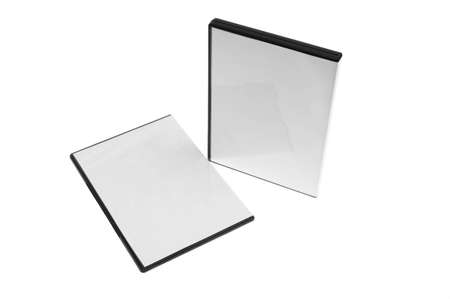blank case DVD  CD white background  Stock Photo