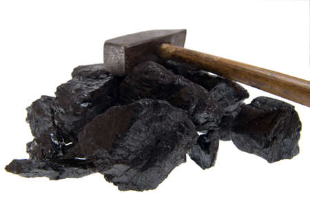 hammer and coal, carbon nugget isolated on white background