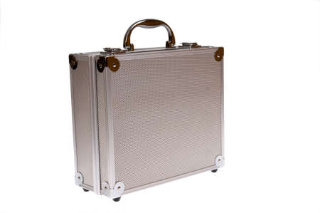 Toolbox, silver suitcase isolated on white photo