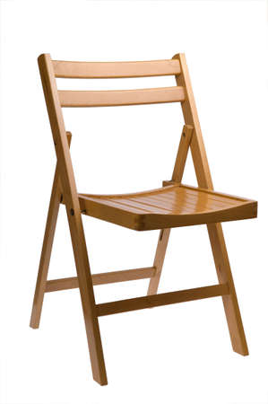wooden folding chair isolated on white Stock Photo