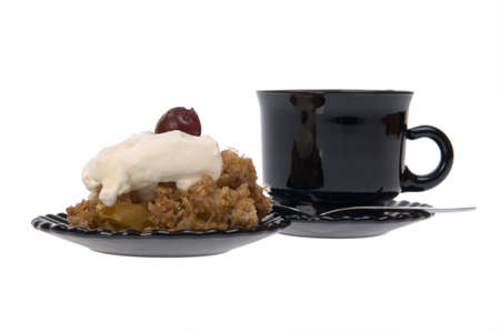 Cup of hot coffee and cakes Flapjack isolated on white photo