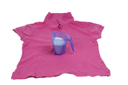 pink shirt for the laundry - isolated on white  photo