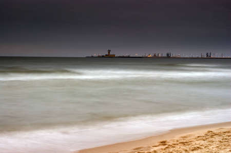 night - north port, Gdansk, Danzig Poland - long exposure Stock Photo