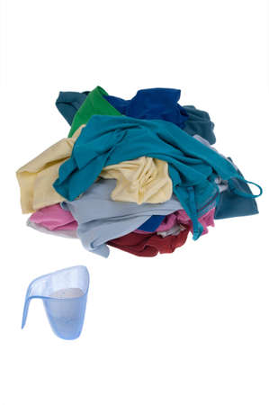 Pile of dirty clothes for the laundry - isolated on white Stock Photo - 7595863