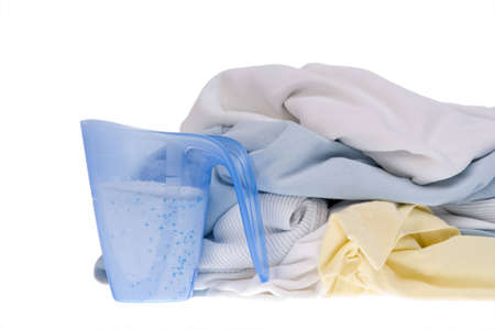 Pile of dirty clothes for the laundry - isolated on white Stock Photo - 7595873