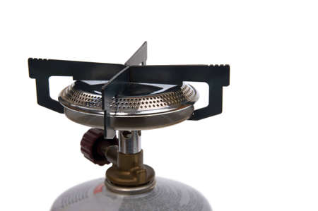 isolated on white - camping stove, gas burner photo