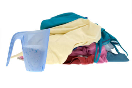 Pile of dirty clothes for the laundry - isolated on white Stock Photo - 7859229