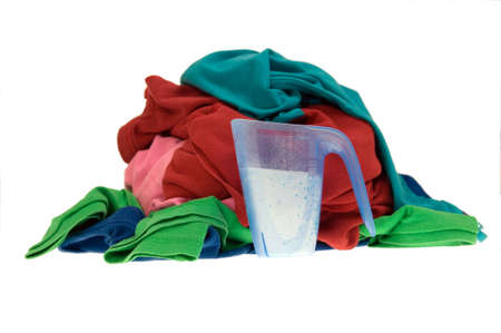 Pile of dirty clothes for the laundry - isolated on white Stock Photo - 7859245