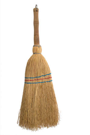 besom, broom isolated white background  Stock Photo