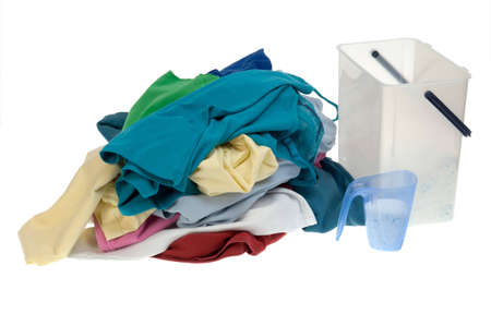 Pile of dirty clothes for the laundry - isolated on white Stock Photo - 8241716