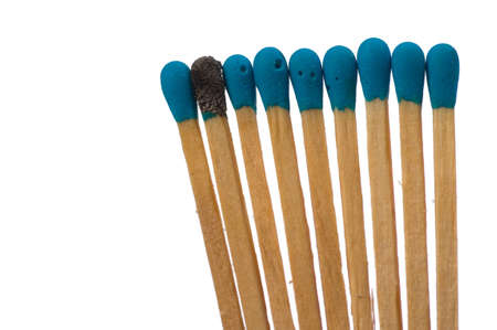 loner: Close up shot of matches isolated on white