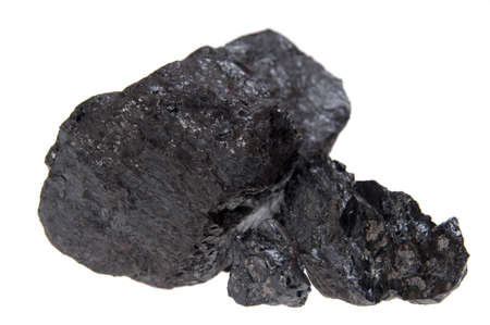 bituminous coal: coal, carbon nugget isolated on white background