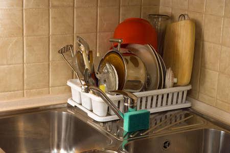 metal cooking pan and tin pot, sink photo