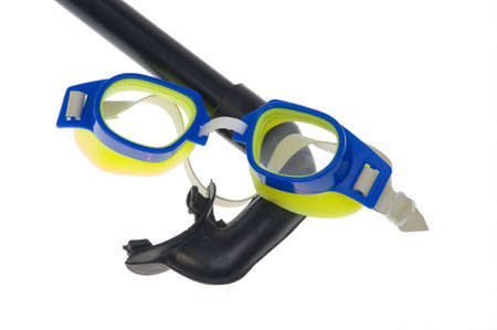 swimming goggles: Isolated - swimming goggles, snorkel isolated on a white background  Stock Photo