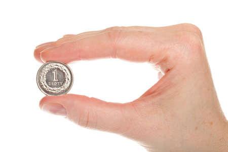 Polish money isolated on white in hand Stock Photo - 10229526
