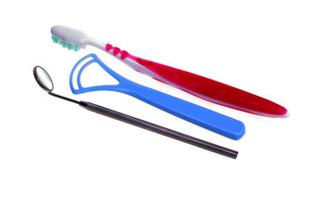 tongue cleaner: toothbrush, tongue scraper,tongue cleaner - mouth hygiene, Medical Mirror with Reflection isolated on white