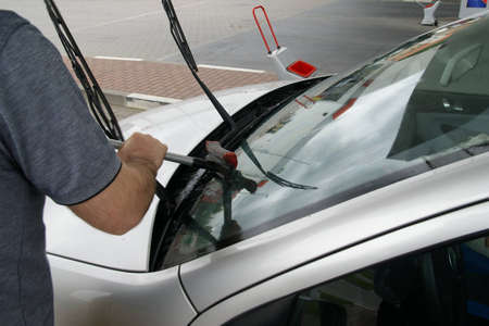 valeting: washing car on  hand silver car Stock Photo