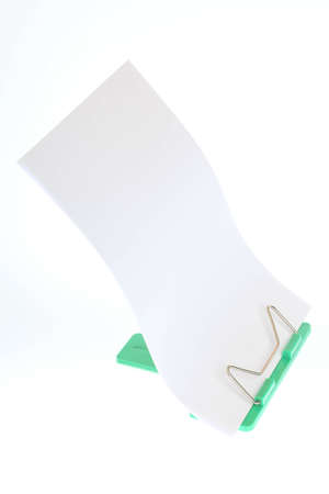 Flipchart on easel card holder with blank white photo
