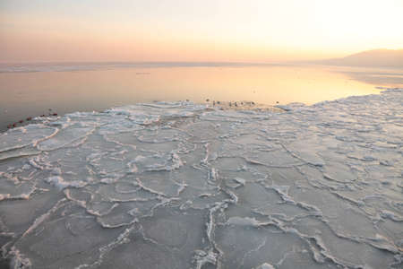 yellow Sunset on the sea - ice - floe. Poland, Gdynia photo