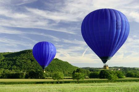 blue flying hot air balloon, hot air ballon   photo