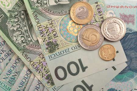 Polish money background, bill earnings photo