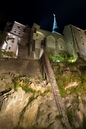 Le Mont St Michel in Normandie, France, shaft of light