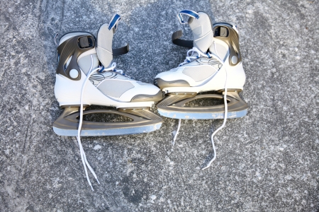 ice skating outdoors on a freezing winter Stock Photo