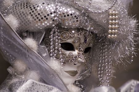 The woman with the silver mask, Carnival of Venice 2008 Stock Photo - 2506885