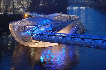Modern Bridge in Graz Austria