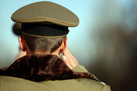 A soldier saluting photo