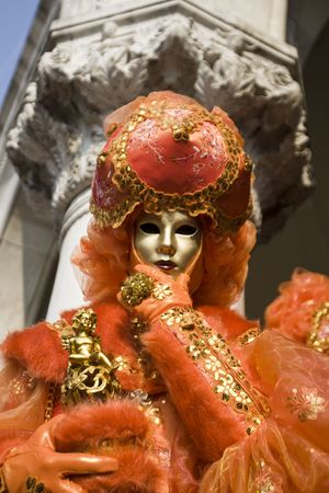 stage costume: Professional masks Ive seen during the carnival held in Venice in Italy, February 2009. Stock Photo