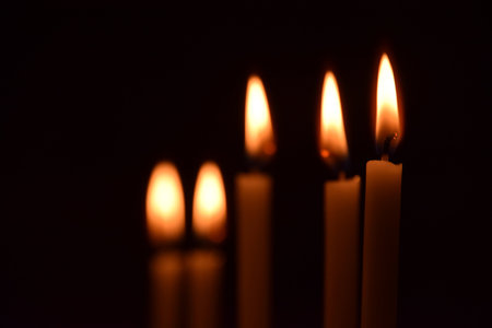Candle light, all souls day, five candles
