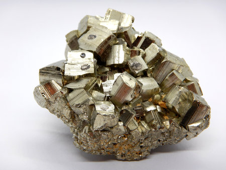 Pyrite crystal close-up, sulfide mineral