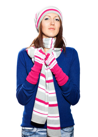 Girl in hat and gloves blouse on a white background  Stock Photo - 25257802