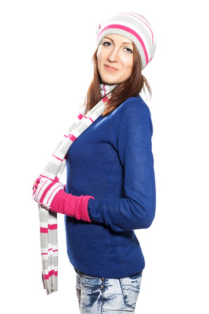 Girl in hat and gloves blouse on a white background Stock Photo - 25257824