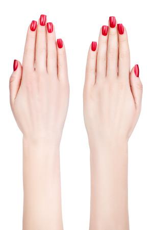 Schöne weibliche Hände mit Französisch Maniküre auf Nägel Damen-lange Finger Standard-Bild - 26562180