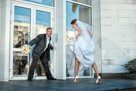 reluctance: Bride groom blocks go to the wedding, he cries  Stock Photo