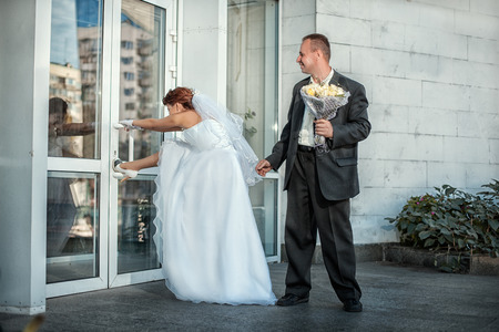 drollery: The bride and groom came to the wedding and want to go