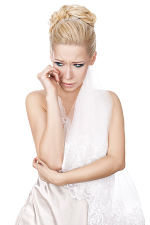 dramatics: Bride blonde girl crying her hysterics before the wedding