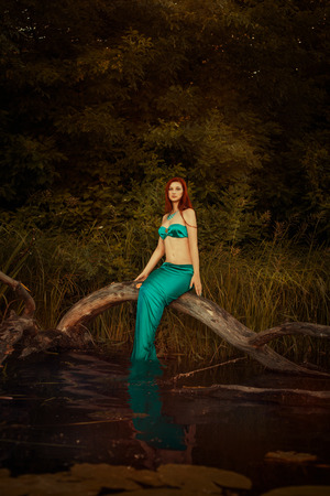 seamaid: Mermaid girl sitting on a tree in the swamp. Stock Photo
