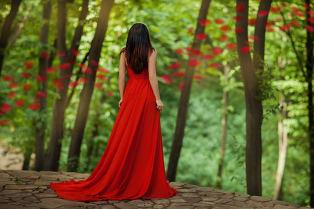 Girl back to us standing in the woods at the edge of a precipice. In her red dress. Фото со стока