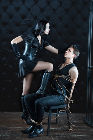 Girl took Mistress hair bound man. She dominates the man and he related.